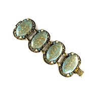 Aqua Confetti Cabochon Rhinestone Bracelet