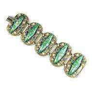 Green Confetti Cabochon Bracelet by Selro