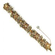 Coro Jonquil and Topaz Rhinestone Flower Bracelet