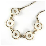 Mother-of-Pearl Disk Flower Motif Necklace