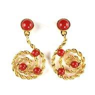 Avon Carnelian Red Dangle Earrings