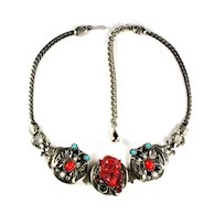 Red Noh Butterflies Vintage Necklace by Selro