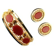 Carnelian Red Cabochon Rhinestone Filigree Bracelet and Earrings
