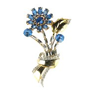 Blue Rhinestone Flower Brooch
