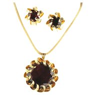 Kramer New York Red Pendant Necklace and Earrings