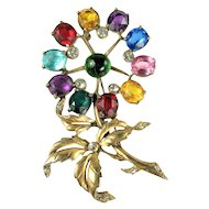 Colorful Cabochon Huge Flower Brooch