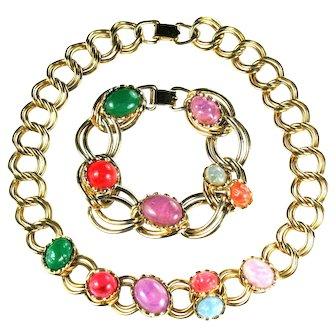 Coro Colorful Necklace Bracelet Vintage Set
