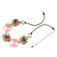 Selro Pink Cabochon Rhinestone Flowers Necklace