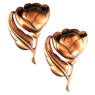Large Copper Pair of Flower Brooches