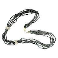 Black Bead Crystal Rhinestone Five Strand Torsade Vintage Necklace