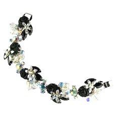 Black Roses Rhinestones Bead Vintage Bracelet