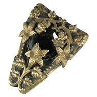 Victorian Revival Black Button Flower Dress Clip