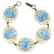 Iridescent Blue Art Glass Cabochons Vintage Bracelet