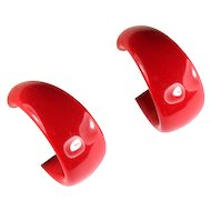 Trifari Red Hoop Earrings