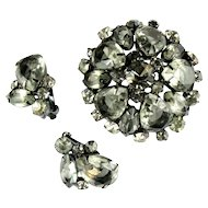 DeLizza and Elster Juliana Gray Rhinestone Domed Brooch and Earrings
