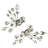 Astra Crystal Rhinestone Front and Back Vintage Earrings