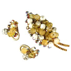 DeLizza and Elster Juliana White Cream Yellow Beaded Brooch and Earrings