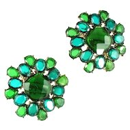 Monet Shades of Green Faceted Earrings