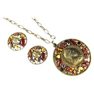 Art Roman Coin Motif Shades of Topaz and Red Pendant Necklace and Earrings