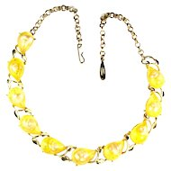 Yellow Cabochon Shell Necklace