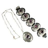 Selro Amethyst Rhinestone Vintage Pendant Locket and Bracelet