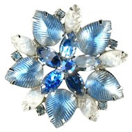 Blue White Givre Rhinestone Flower Brooch