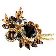 DeLizza and Elster Juliana Topaz Colored Rhinestone Brooch