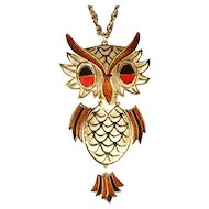 Brown Orange Enamel Owl Pendant Necklace
