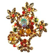 DeLizza and Elster Juliana Topaz Rhinestone Flower Basket Brooch