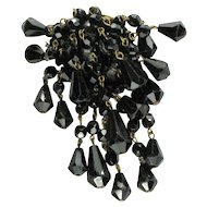 Black Faceted Glass Bead Dangle Brooch