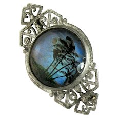 Hand Painted Butterfly Wing Vintage Pin