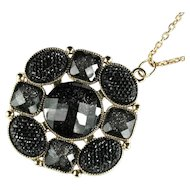 Vintage Black Glitter Pendant Necklace