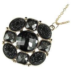 Vintage Black Glitter Pendant Necklace