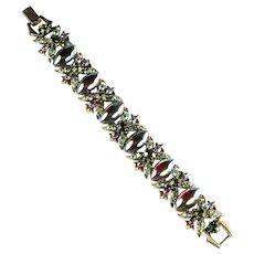 Florenza Green Red AB Cabochons Vintage Bracelet