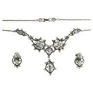 Vintage Hollycraft Crystal Rhinestone Unsigned Necklace Earrings Set
