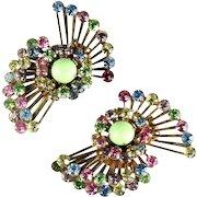 Pastel Rhinestones Vintage Fan Earrings