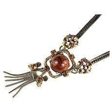Vintage Root Beer Tassel Necklace by Selro