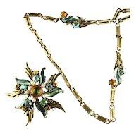 Florenza Rhinestones Vintage Pendant Necklace