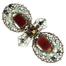 Enamel Carnelian Rhinestone Huge Filigree Vintage Brooch