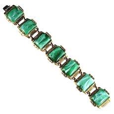 Deep Green Rectangles Vintage Bracelet