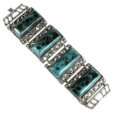 Dark Aqua Large Vintage Bracelet