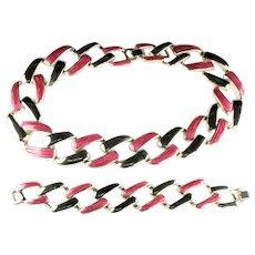 Pink Magenta Enamel Links Necklace Bracelet Vintage Set
