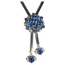 Selro Blue Rhinestones Vintage Bolo Necklace