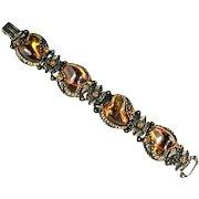 Selro Vintage Topaz Art Glass Bracelet