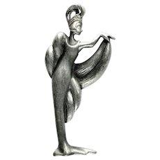 Vintage Art Deco Style Female Figure Brooch