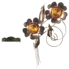 Sterling Vermeil Topaz Rhinestone Flowers Vintage Brooch