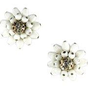 White Bead Rhinestone Vintage Earrings Germany