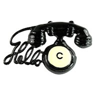 Black Enamel Vintage Telephone Brooch