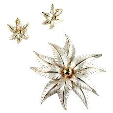 Feather Petal Flower Vintage Brooch and Earrings