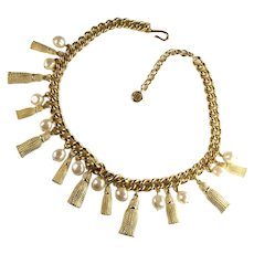 Givenchy Tassels and Imitation Pearls Necklace
